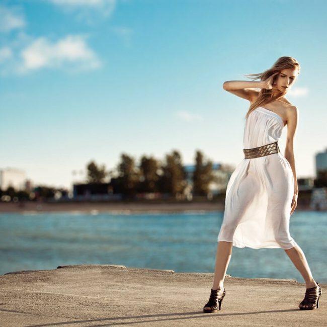 Fashion Model in Wind