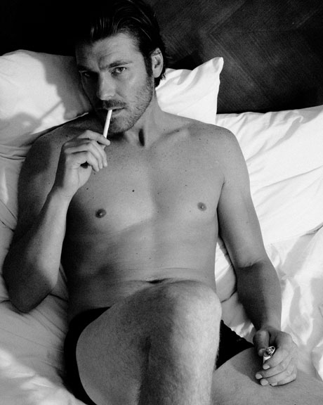 Male Model Smoking in bed