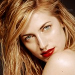 Red Lip with Gold Glow Beauty