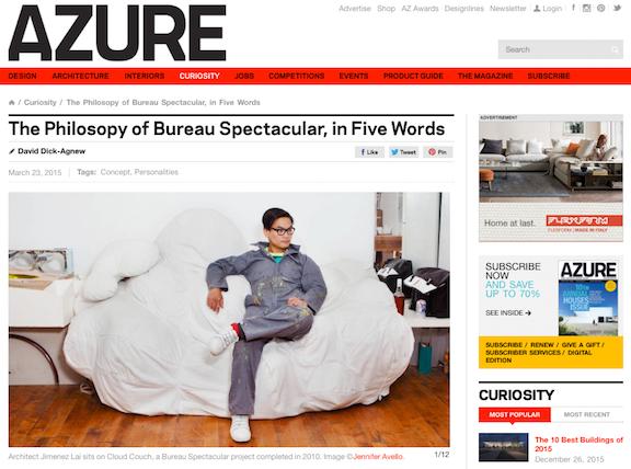 Jimenez lai of bureau spectacular for azure magazine for Bureau spectacular