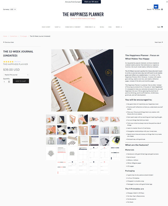 The Happiness Planner 52 Week Journal online store