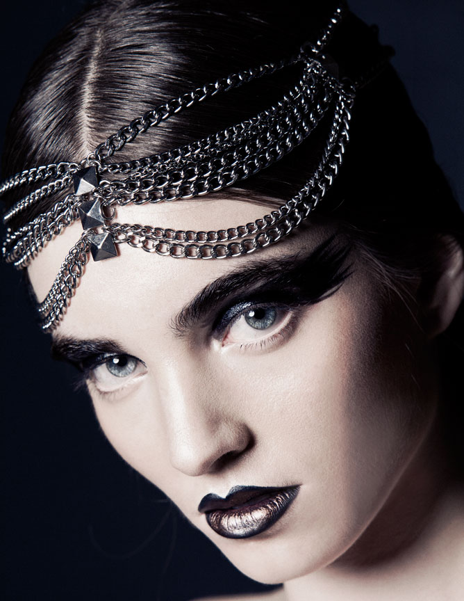 dark beauty with black lip and headpiece