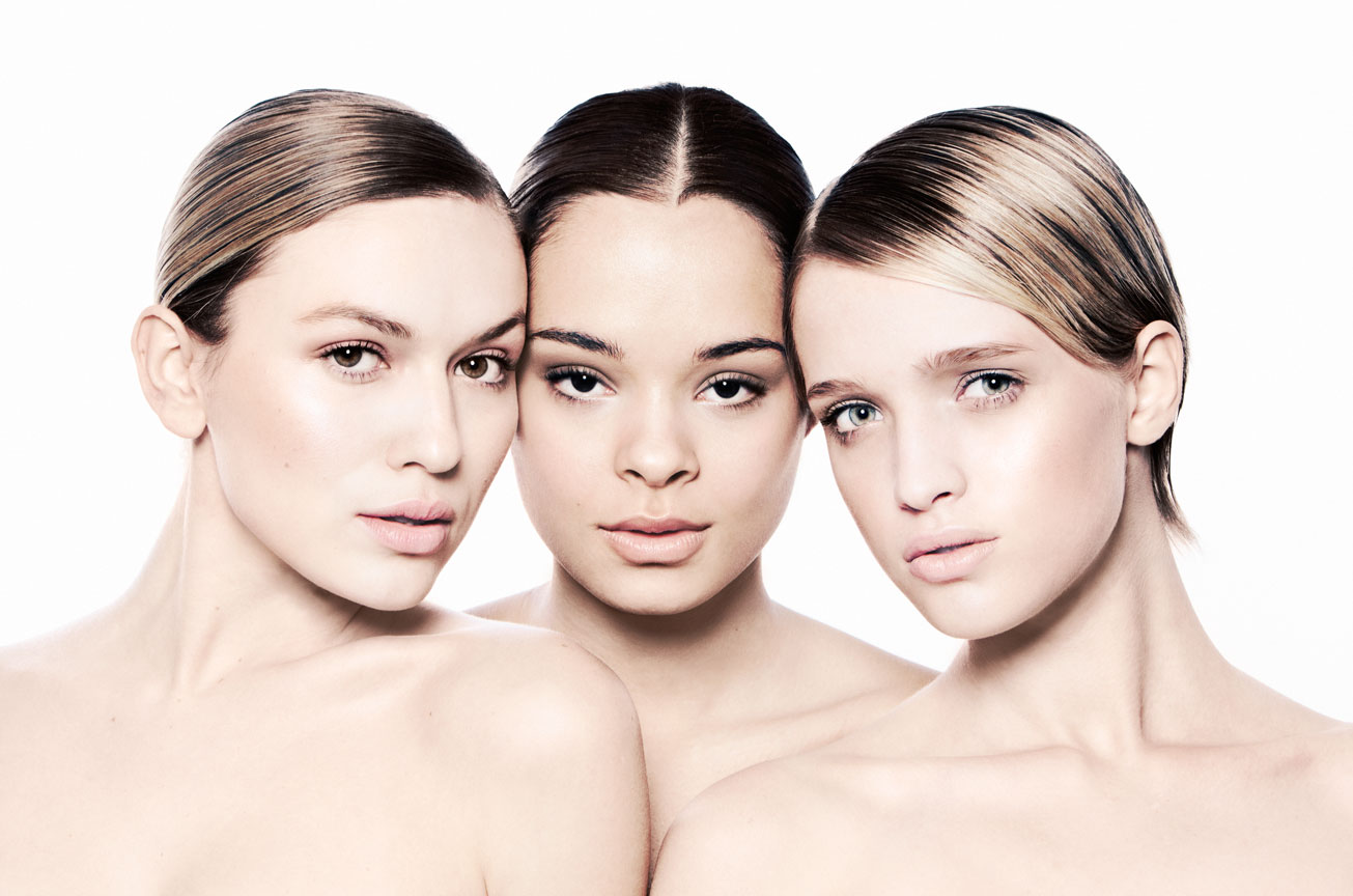 three girls with glossy skin