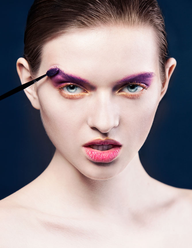 make up brush on eyebrow beauty portrait
