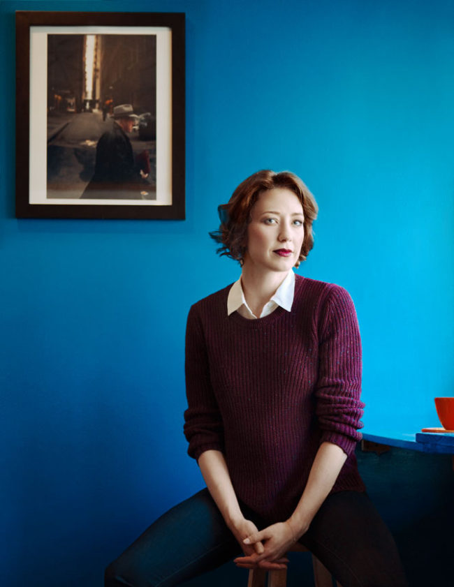 Actress, Carrie Coon in coffee shop