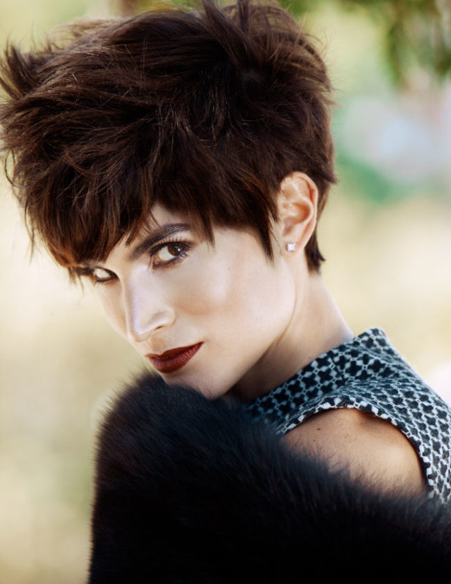 fall beauty with dark lips and pixie hair cut