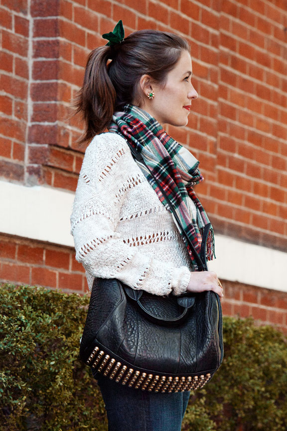 Liz Schneider in plaid for fall